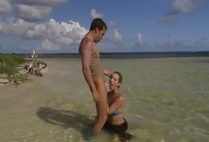Sexy couple is fucking on the island