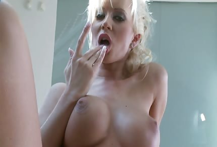Great blonde chick licks her white toy