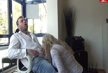 Awesome blonde girl is sucking his dick