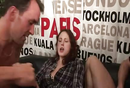 Young girl and two horny men