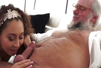 Older guy is licking her young pussy