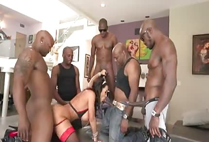 Horny mommy in gangbang