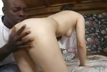 White bitch is riding his black dick