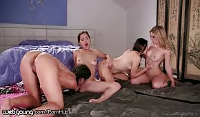 Divine play of four horny ladies
