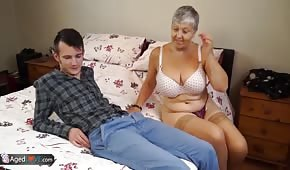 The young man fucks with her grandmother