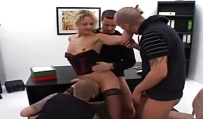 Group sex with the boss in the office