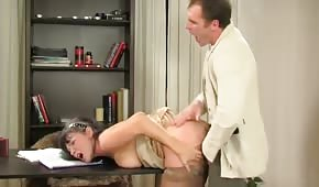 A number in the office with a mature Russian woman