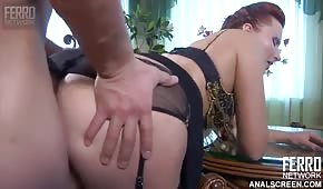 Red-haired Russian girl has huge buttocks