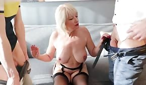 Mature mother loaded in two holes