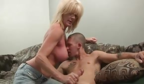 A silicone nanny whips a dick