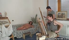 Young painters fuck the brunette