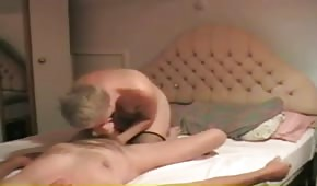 The blonde mother pleasures her grandpa with her mouth