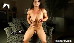 Muscular porn star with nipple earrings