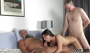 Young fucked in two holes by daddies