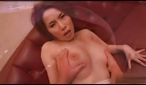 Delicate play with a red Asian woman