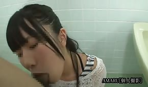 Asian does blowjob in the toilet
