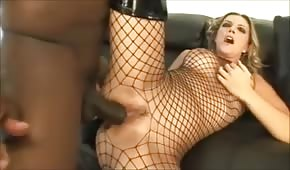 Black penis in a sharp blond asshole