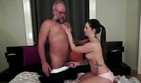 Grandpa fucked a busty brunette naturally