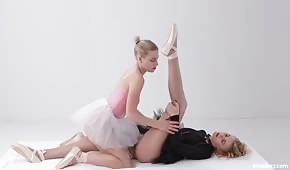 Sexy ballerinas are rubbing their pussies
