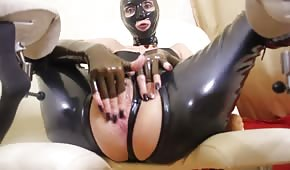 A fierce Russian woman in a latex outfit