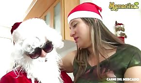 Christmas sex with a blonde Latina