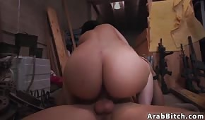 The brunette shakes her fat buttocks