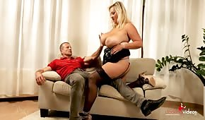 Bouncing breasts of a busty Czech woman
