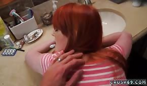 Sex in the bathroom with a redhead woman