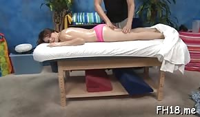 The masseur lubricated the buttocks of a nice client