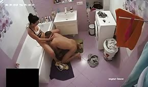 A bitch is making a blowjob in the bathroom